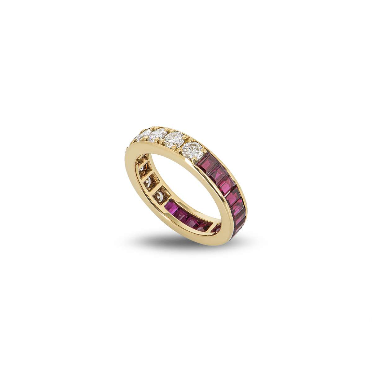 18k Yellow Gold Diamond and Ruby Dress Ring